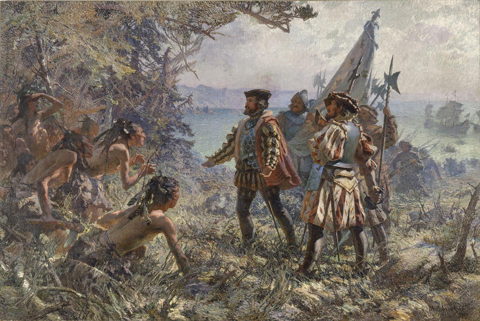 Jacques Cartier rencontre les Indiens à Stadaconé, 1535