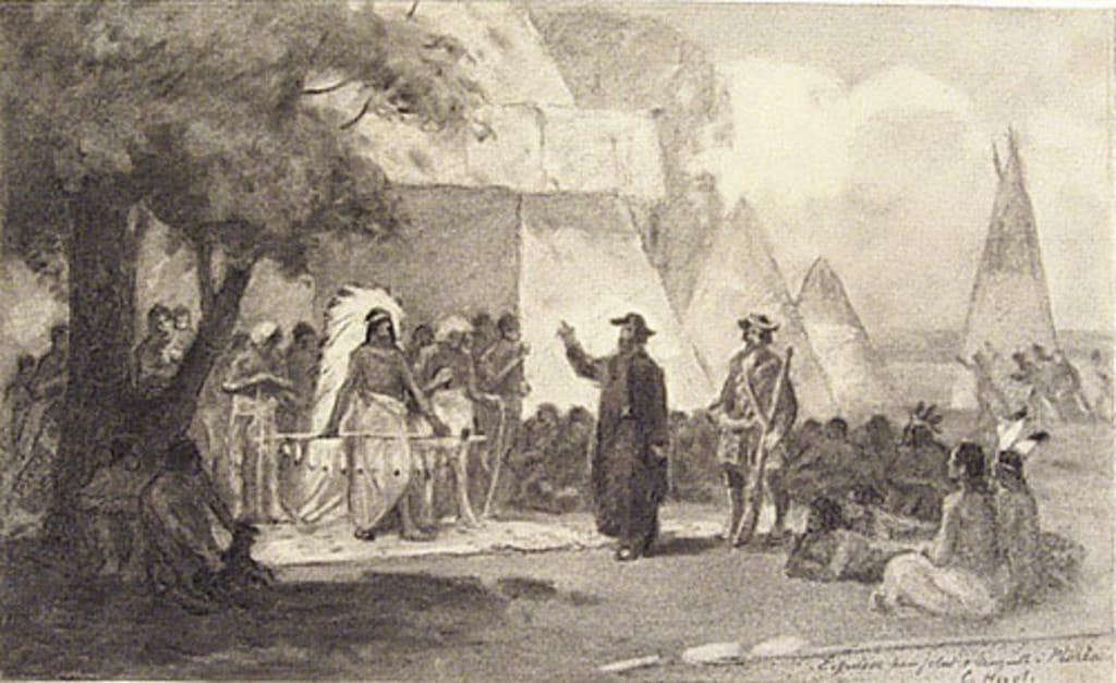 Louis Jolliet et le père Jacques Marquette à Peoria en 1673