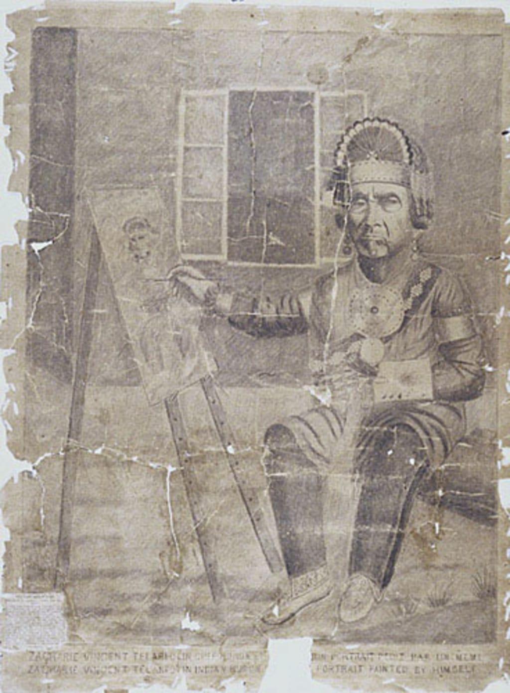Zacharie Vincent Telariolin chef huron et son portrait peint par lui-même