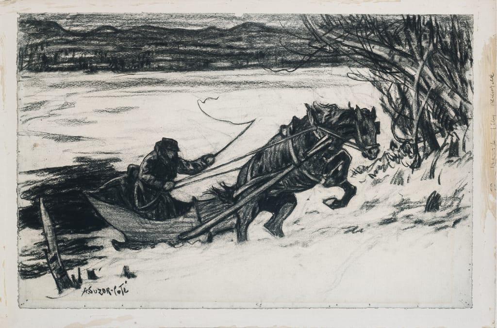 En traîneau, sautant vers la rive. Illustration pour « Maria Chapdelaine » de Louis Hémon