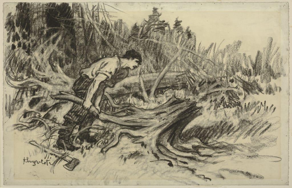 Edwige Légaré s'attaquant à une souche. Illustration pour « Maria Chapdelaine » de Louis Hémon
