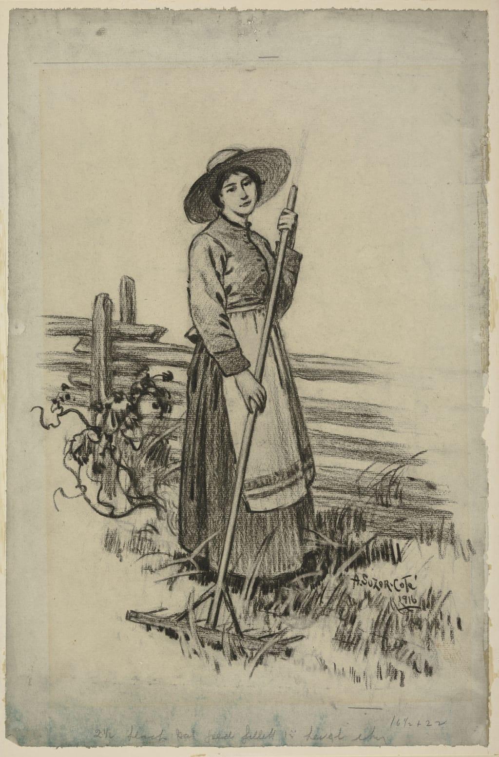 Maria au râteau. Illustration pour « Maria Chapdelaine » de Louis Hémon