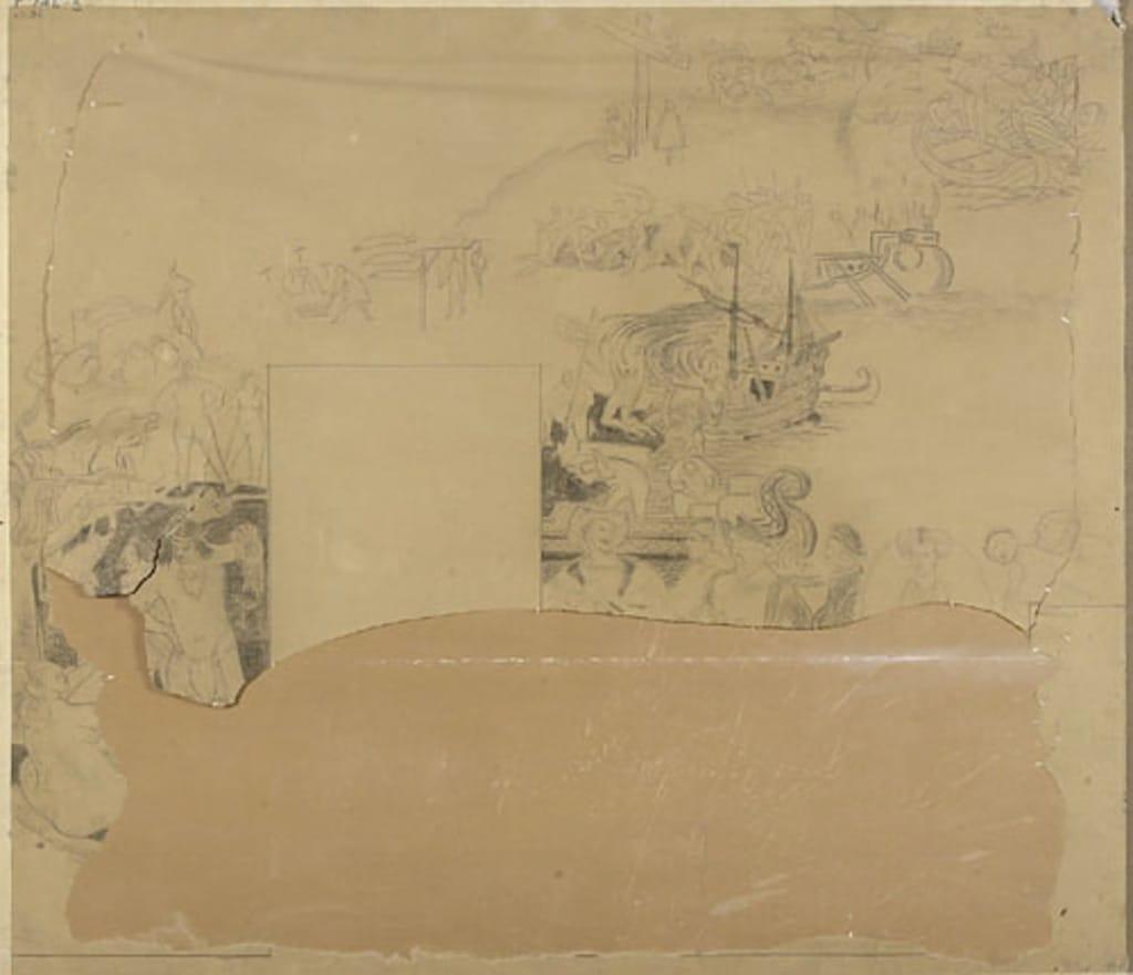 Étude pour le panneau principal : « La Danse du scalp », « L'Arrivée de Jacques Cartier », « Les Légendes », « Les Caravelles » et « La Cour d'Henri IV »