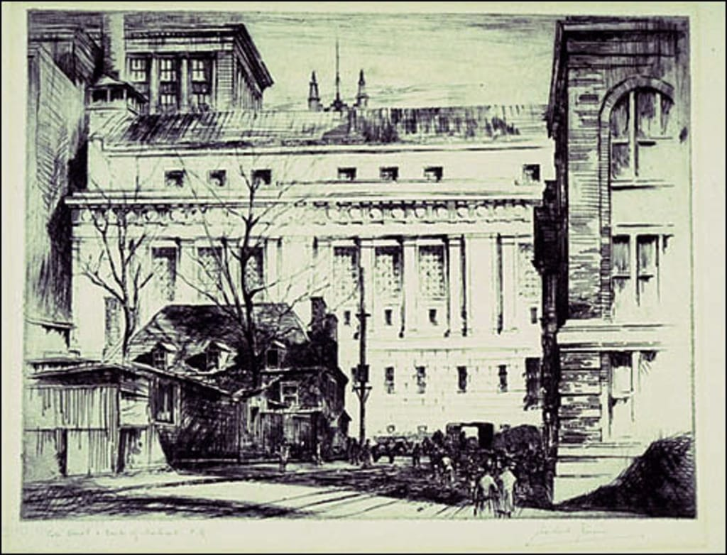 La Banque de Montréal vue de la rue Côté, à Montréal
