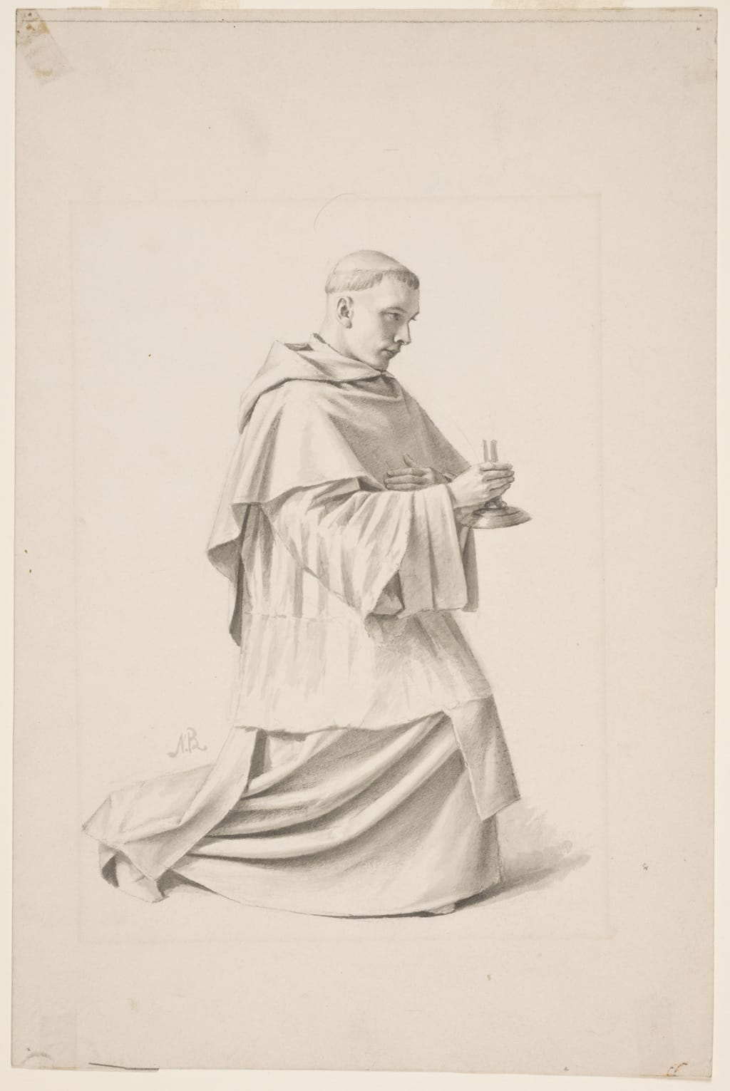 Dominicain tenant un bougeoir. Étude pour « Saint Hyacinthe mourant reçoit la communion, à Cracovie » de la cathédrale de Saint-Hyacinthe