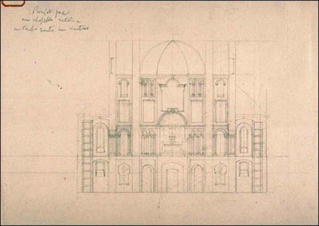 Projet de chapelle pour le cimetière Côte-des-Neiges, Montréal. Coupe transversale