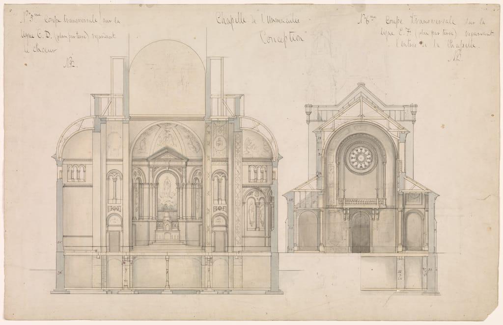 Chapelle Notre-Dame-de-Lourdes, Montréal. Coupes transversales du transept et de l'arrière, plans nos 5 et 6