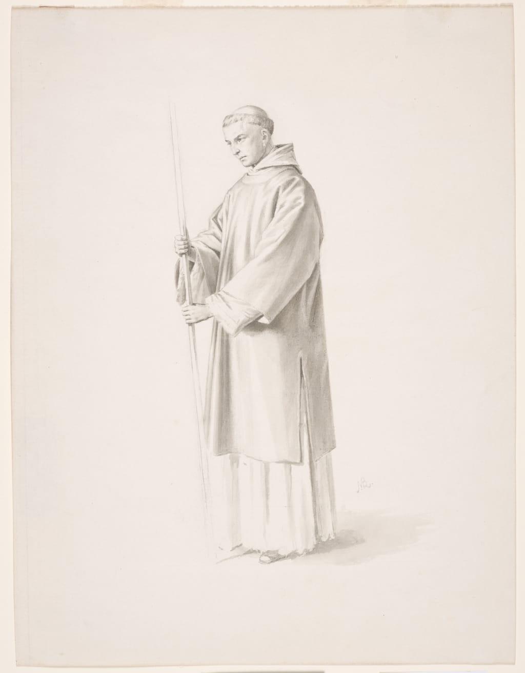 Dominicain tenant un baton. Étude pour « Saint Hyacinthe fuit Kiev devant l'invasion des barbares » de la cathédrale de Saint-Hyacinthe