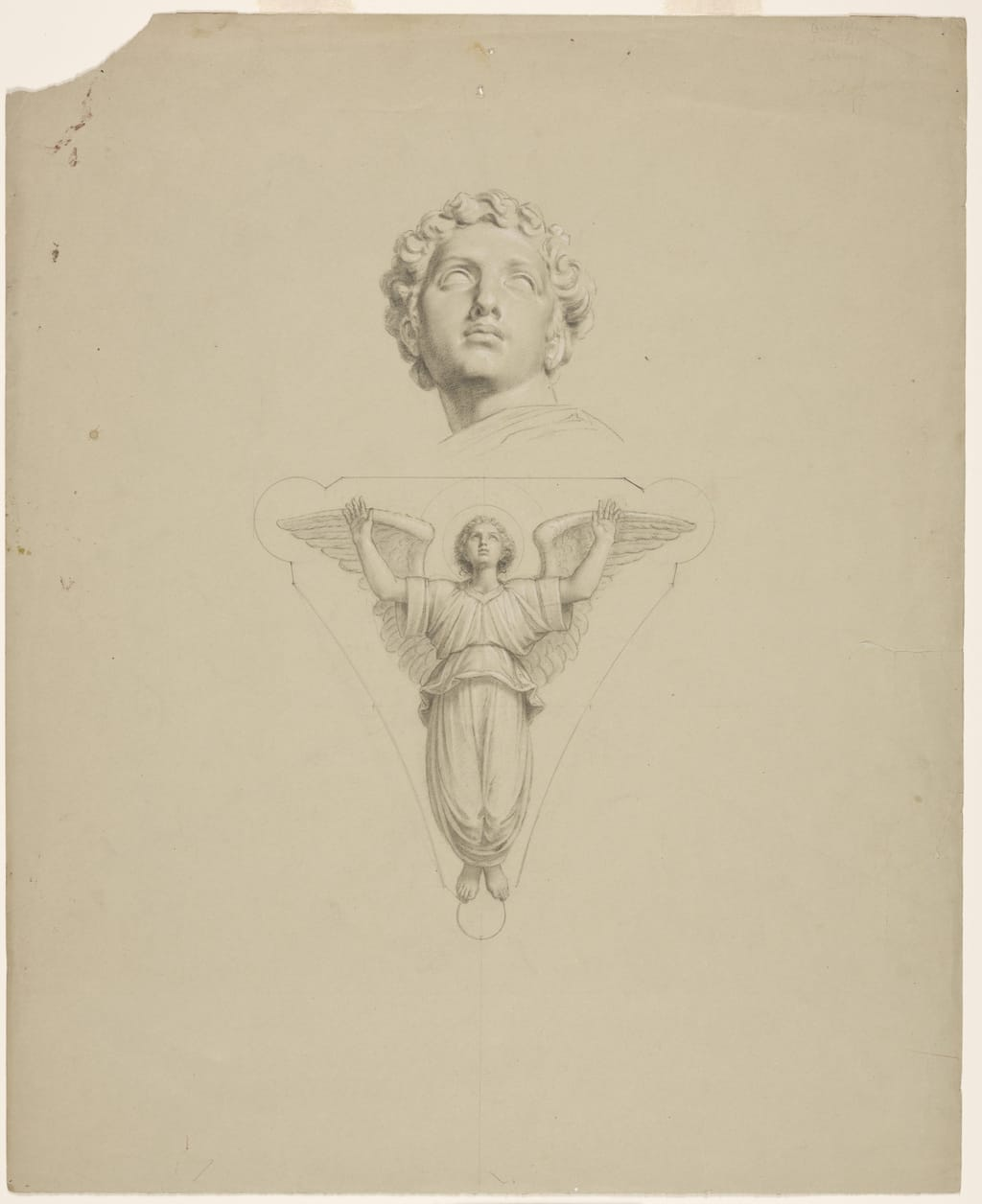 Tête, d'après le plâtre, et ange debout les bras levés. Étude pour les écoinçons de la coupole de la chapelle Notre-Dame-de-Lourdes, Montréal