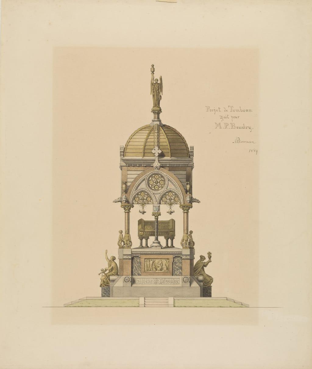Projet d'un monument funéraire à Prudent Beaudry, à Montréal