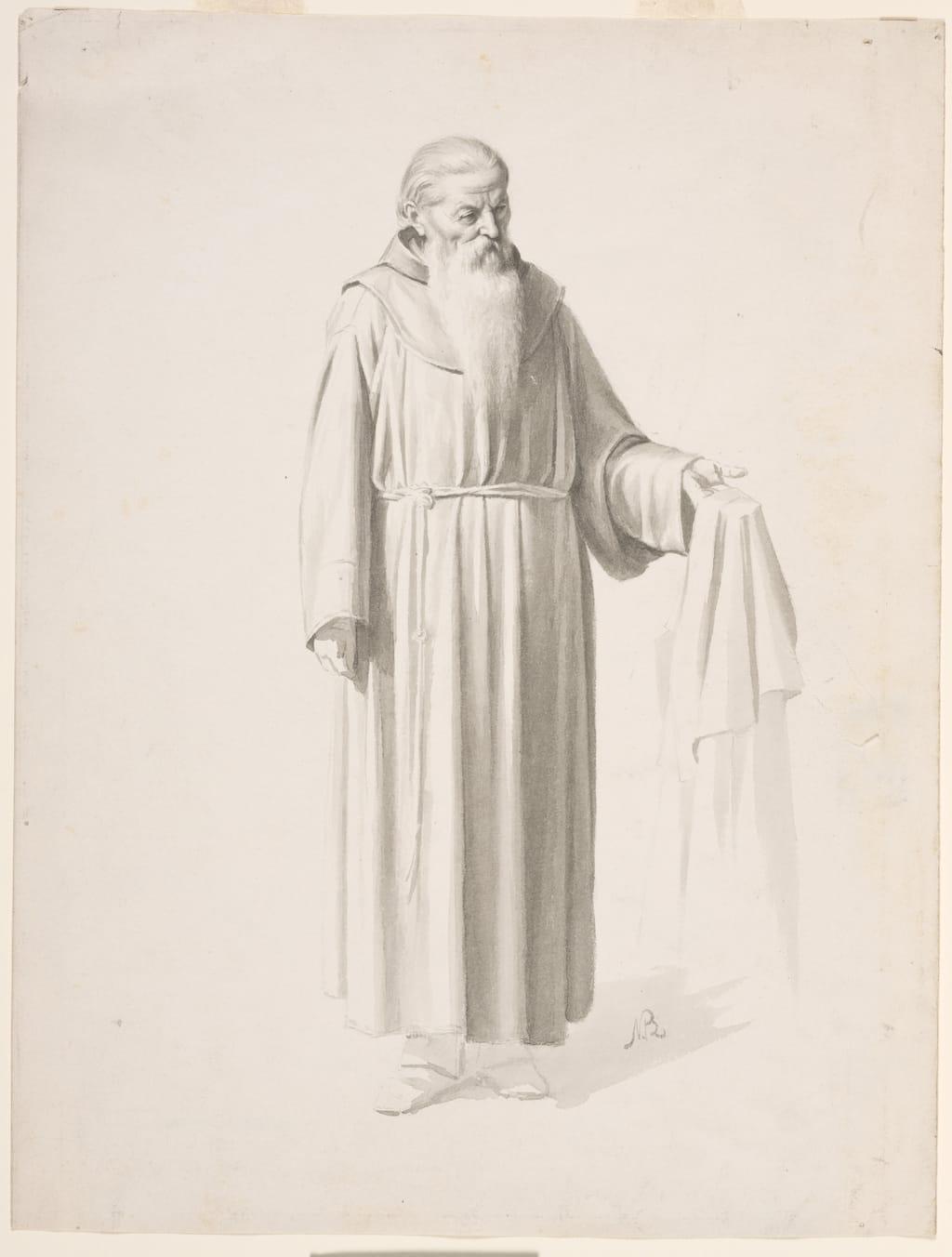 Franciscain présentant une étoffe