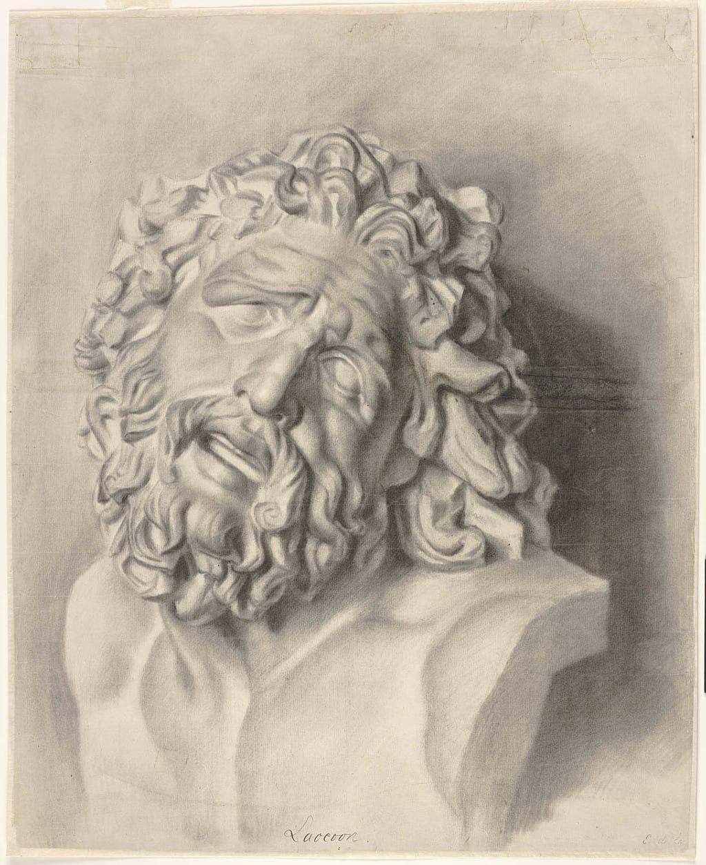 Étude du buste du Laocoon d'après le plâtre, vue de face