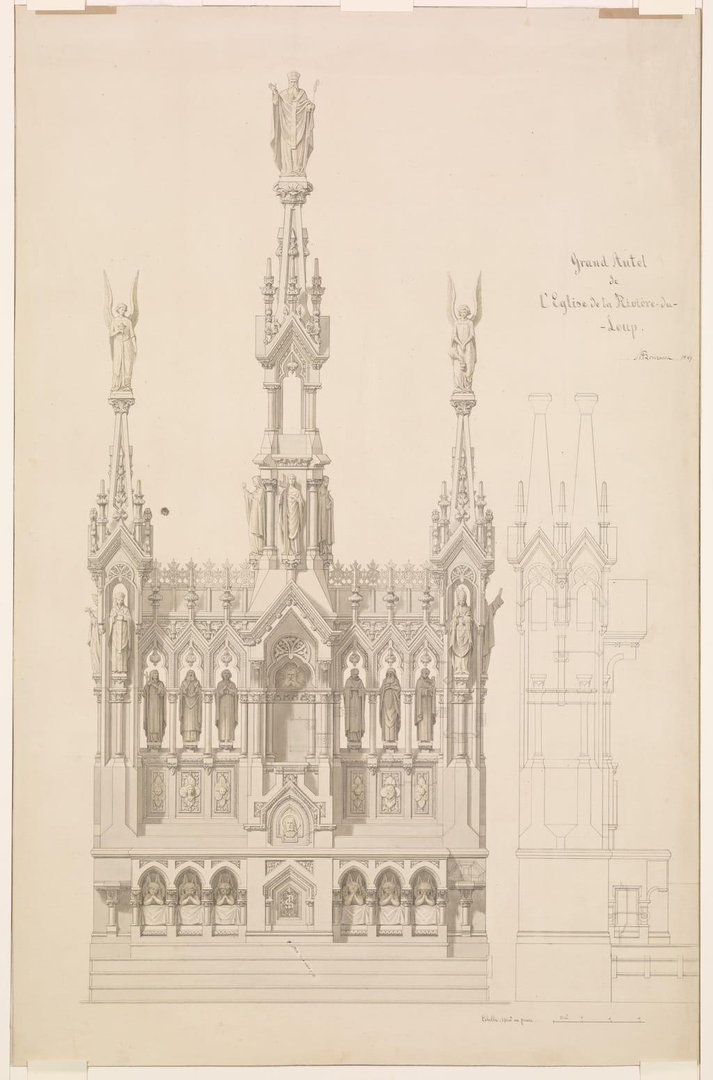 Projet de maître-autel pour l'église Saint-Patrice de Rivière-du-Loup. Élévation et coupe transversale