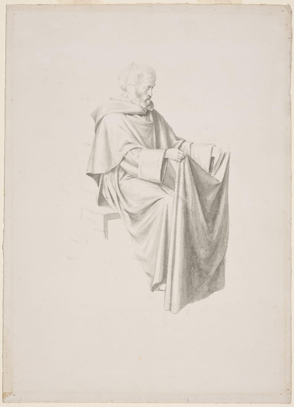 Dominicain assis tenant une étoffe. Étude pour « Saint Hyacinthe prend l'habit des mains de saint Dominique, à Rome » de la cathédrale de Saint-Hyacinthe