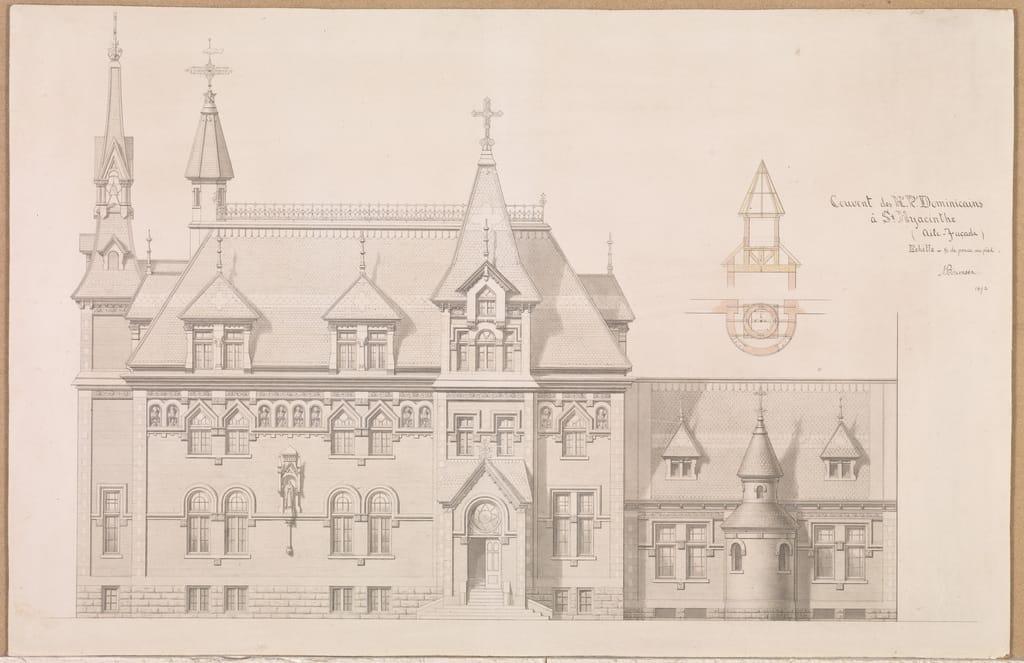 Monastère des Dominicains de Saint-Hyacinthe. Élévation de la façade principale et de l'aile