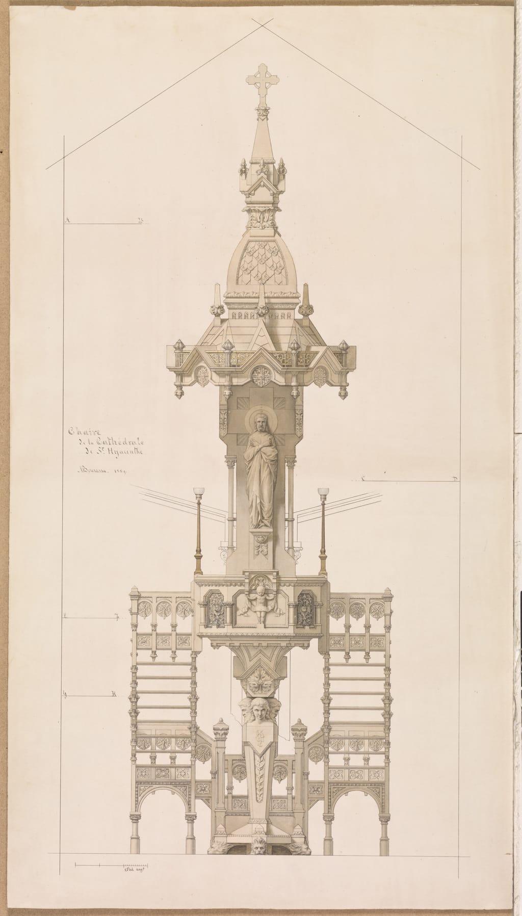 Projet de chaire de prédication pour la cathédrale de Saint-Hyacinthe. Élévation