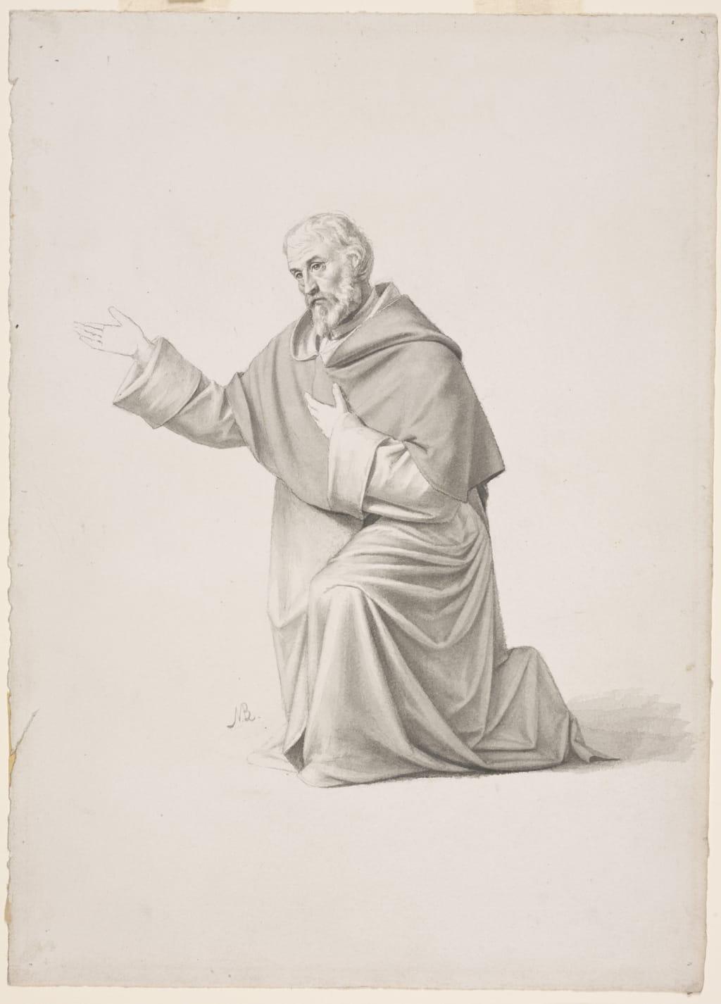 Dominicain agenouillé. Étude pour « Saint Hyacinthe quitte le couvent Sainte-Sabine de Rome pour la Pologne » de la cathédrale de Saint-Hyacinthe