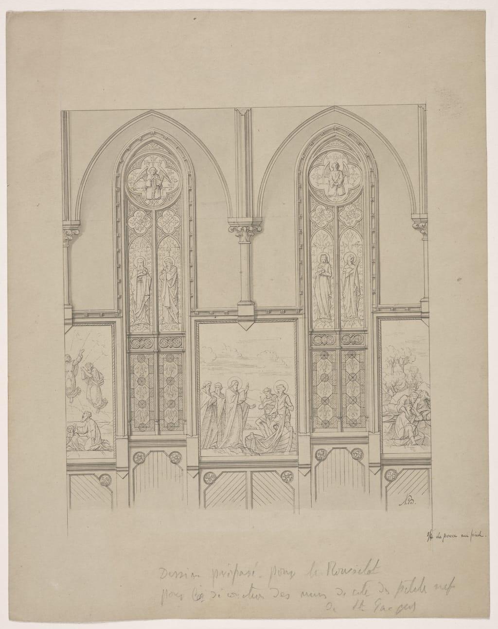 Église Saint-Jacques, Montréal. Projet de décoration pour les bas-côtés