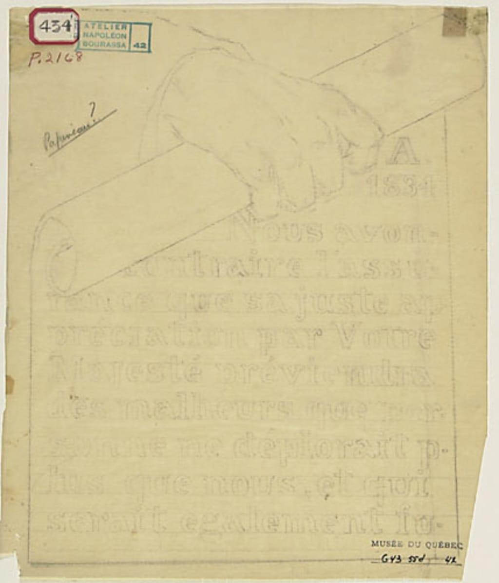 Inscription tenue par Louis-Joseph Papineau. Poncif pour « L'Apothéose de Christophe Colomb »