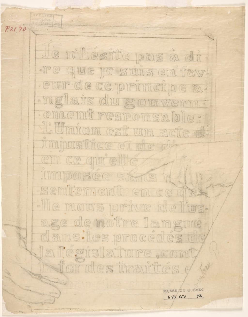 Inscription tenue par Robert Baldwin. Esquisse et poncif pour « L'Apothéose de Christophe Colomb »