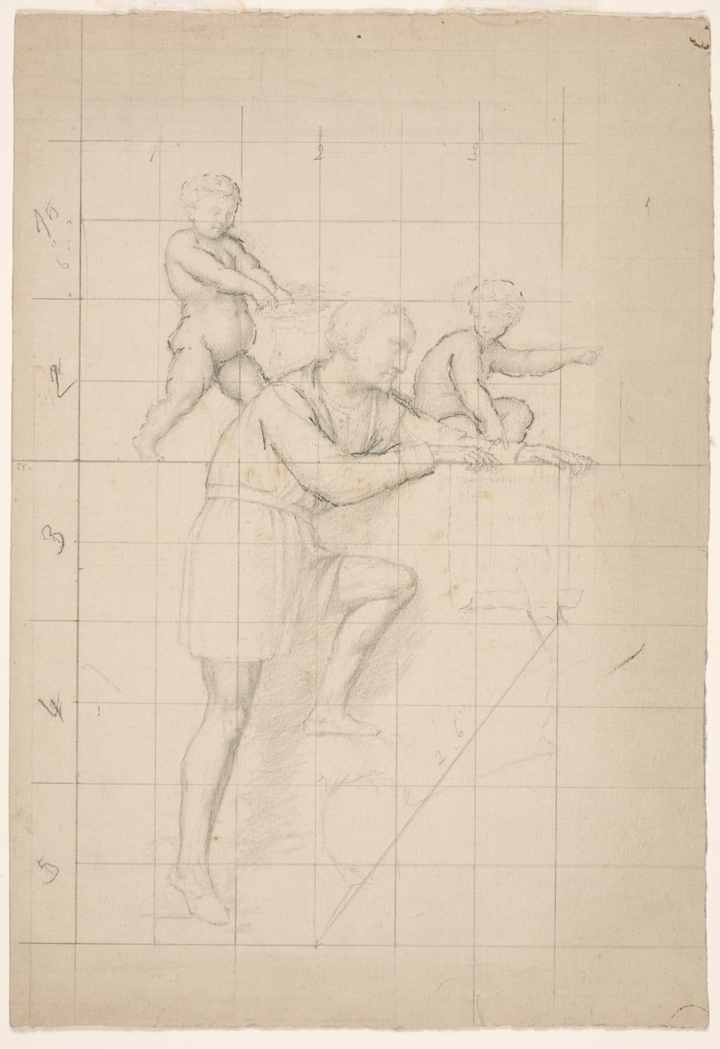 Americ Vespuce accompagné de deux génies. Étude mise au carreau pour « L'Apothéose de Christophe Colomb »