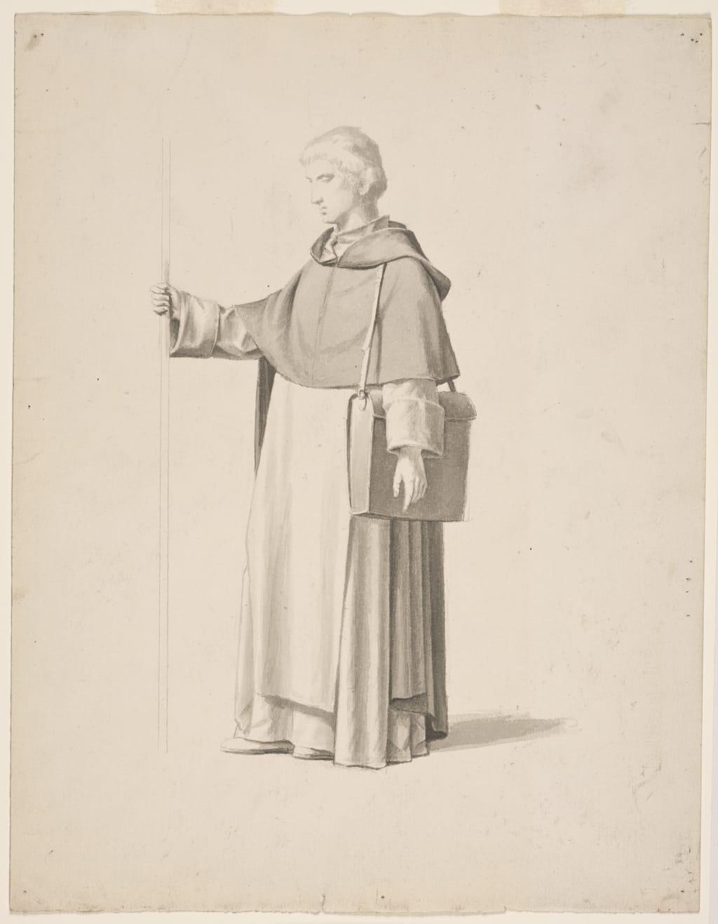 Dominicain debout tenant un bâton et portant un sac en bandoulière. Étude pour « Saint Hyacinthe quitte le couvent Sainte-Sabine de Rome pour la Pologne » de la cathédrale de Saint-Hyacinthe