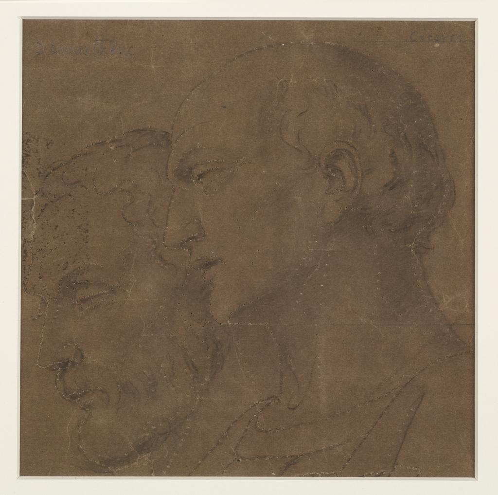 Têtes de Démosthène et de Cicéron. Fragment et poncif pour « L'Apothéose de Christophe Colomb »