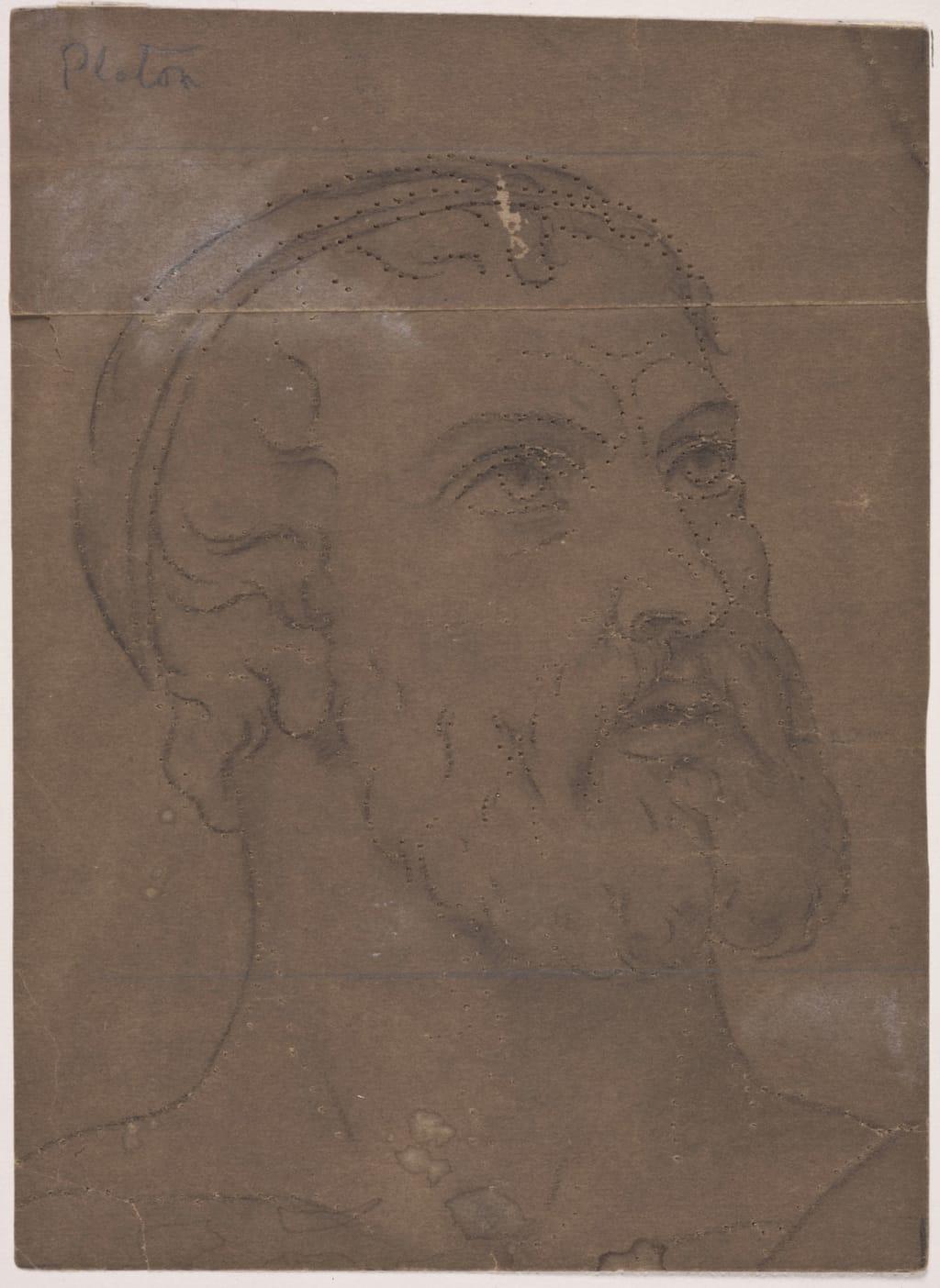 Tête de Platon. Fragment et poncif pour « L'Apothéose de Christophe Colomb »