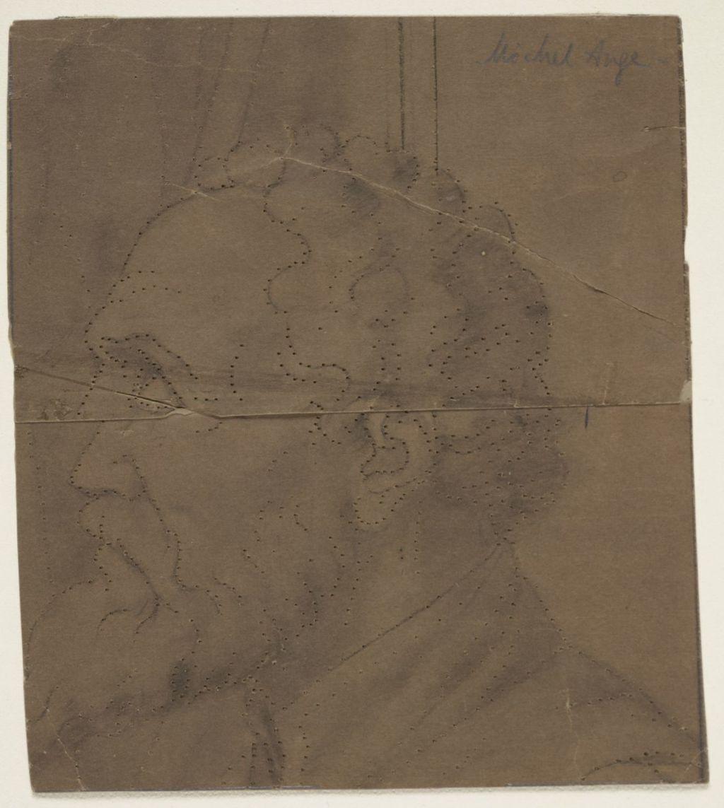 Tête de Michel-Ange. Fragment et poncif pour « L'Apothéose de Christophe Colomb »