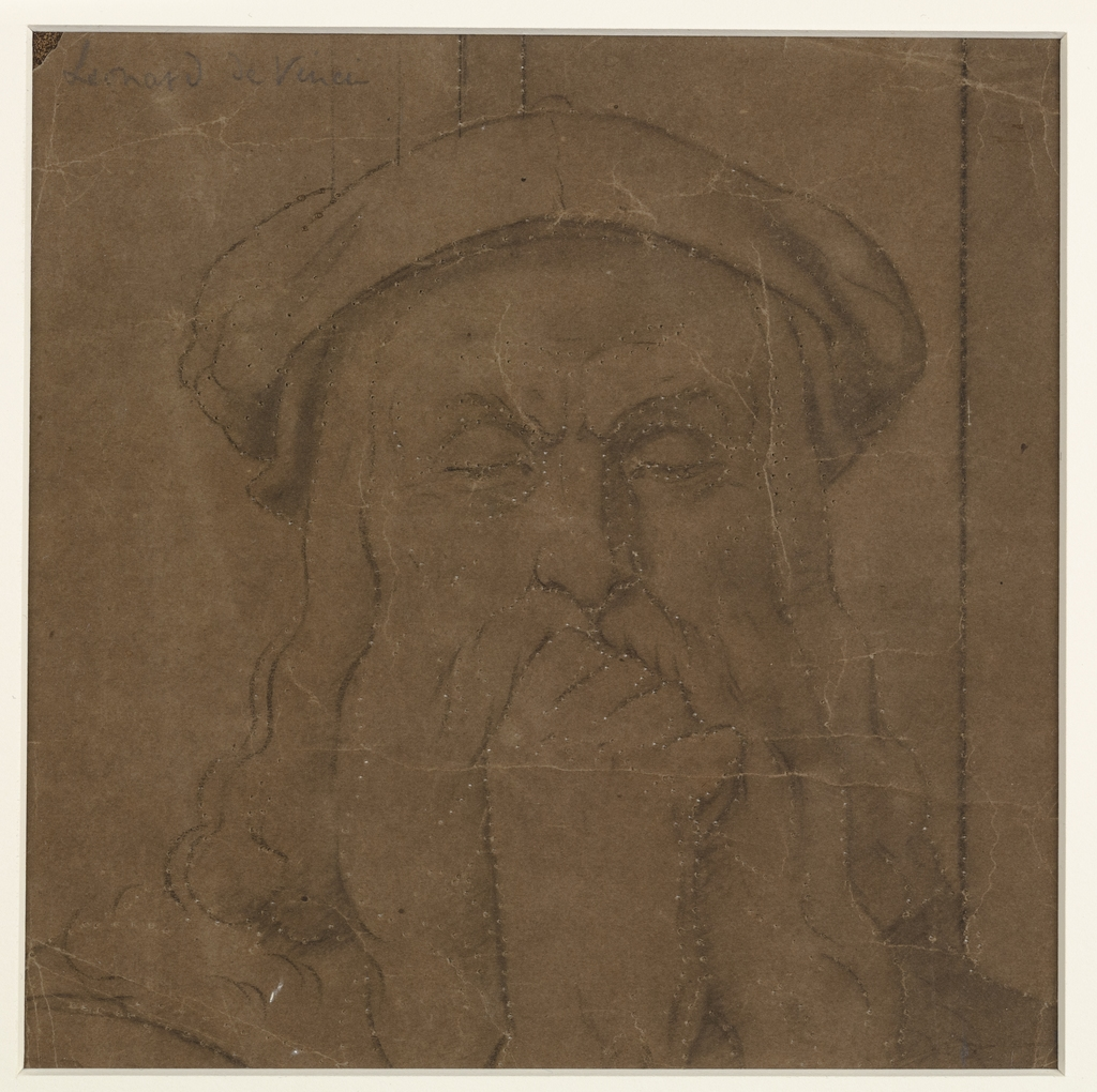 Tête de Léonard de Vinci. Fragment et poncif pour « L'Apothéose de Christophe Colomb »