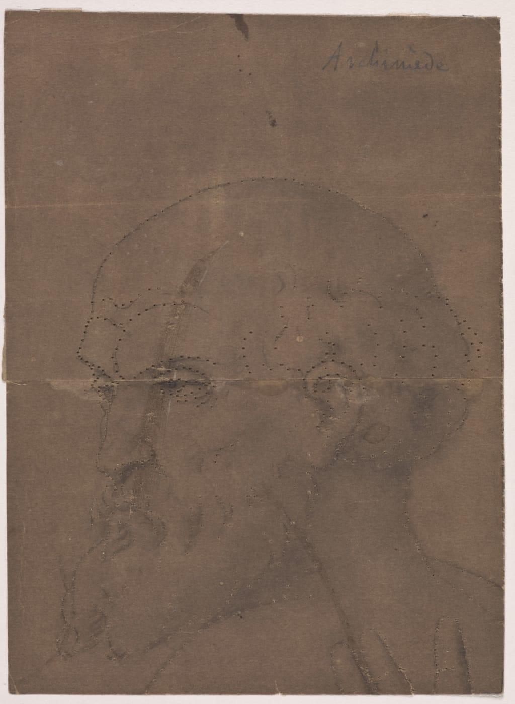 Tête d'Archimède. Fragment et poncif pour « L'Apothéose de Christophe Colomb »