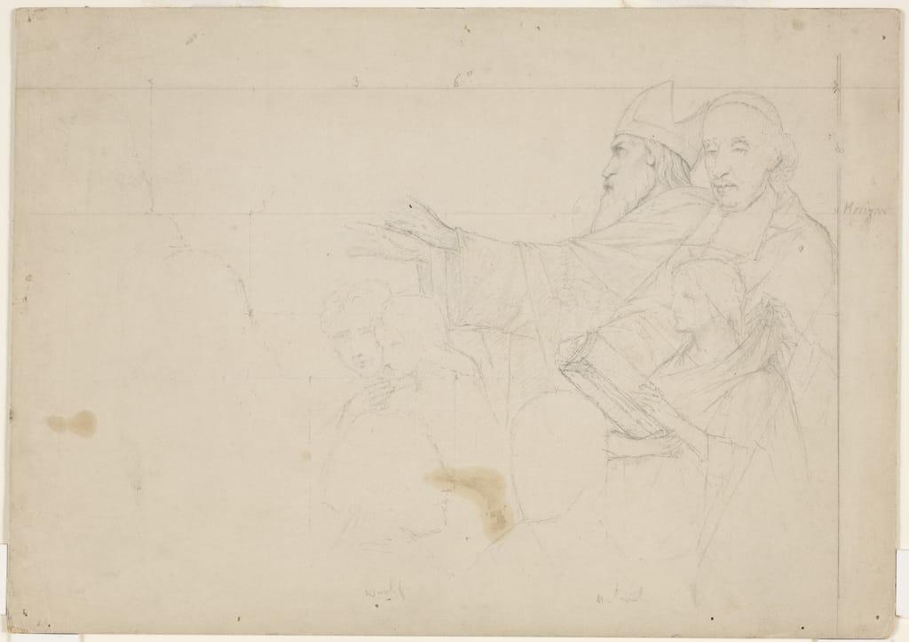 Messeigneurs Las Casas et de Laval accompagnés de trois Amérindiens. Esquisse mise au carreau pour « L'Apothéose de Christophe Colomb »