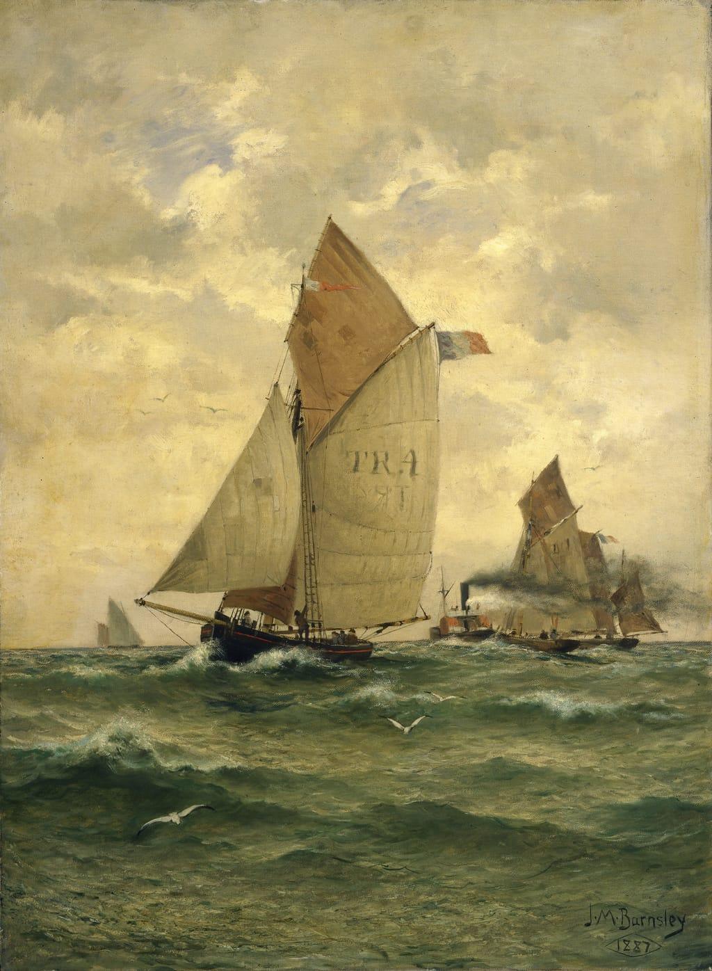 Bateaux sur la côte normande