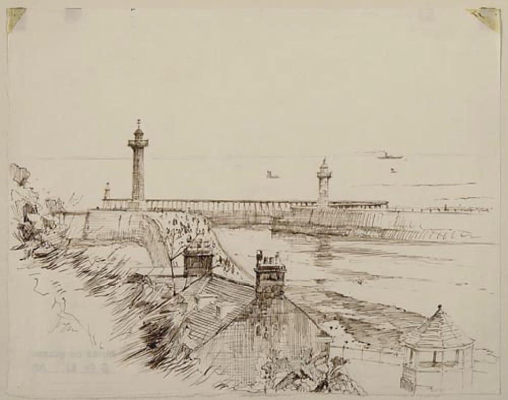 La Jetée ouest, à l'entrée du port de Whitby (Angleterre)