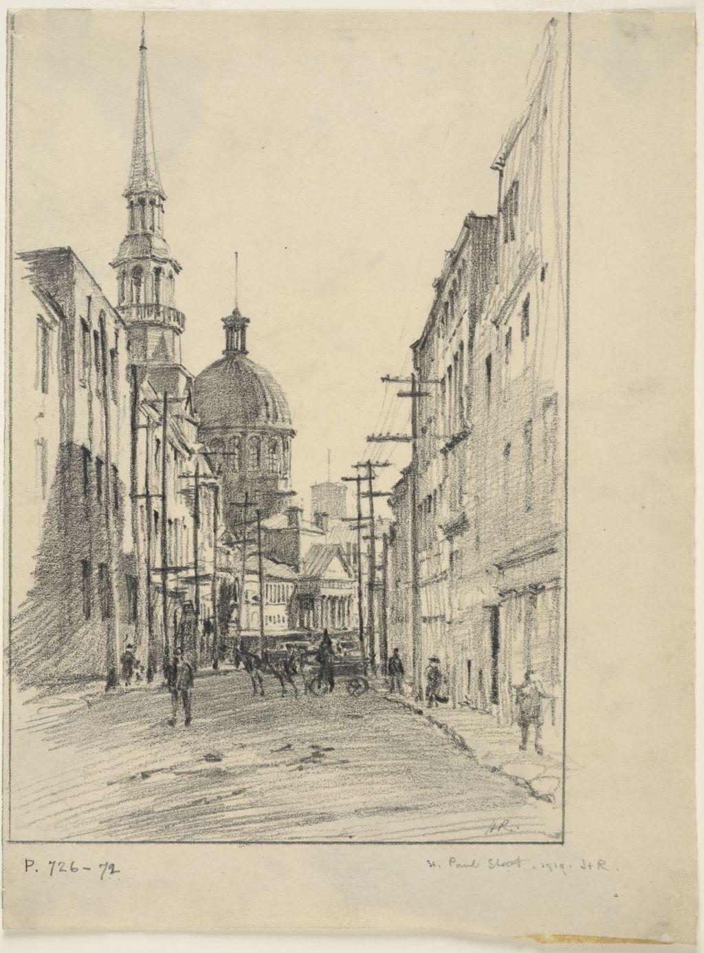 La Rue Saint-Paul, avec la Chapelle Notre-Dame de Bon-Secours et le Marché Bonsecours, à Montréal (vue vers l'ouest)