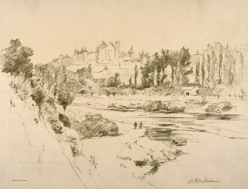 Les Fortifications et la Cité de Carcassonne (France), vues de la rive gauche de l'Aude