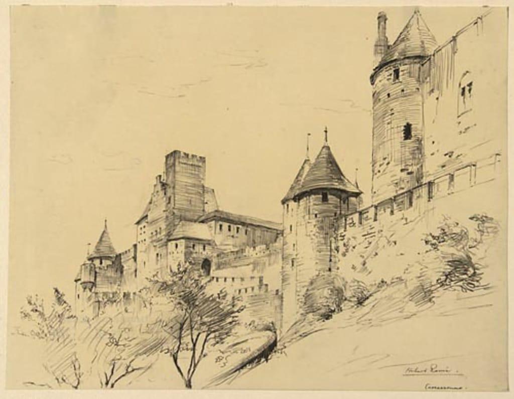 Vue de la Cité et de la Porte de l'Aude, à Carcassonne (France)