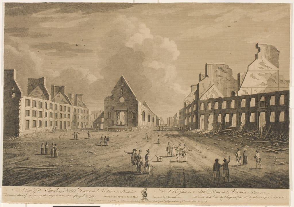 Vue de l'église de Notre-Dame-de-la-Victoire, bâtie en mémoire de la levée du siège de 1695 et démolie en 1759