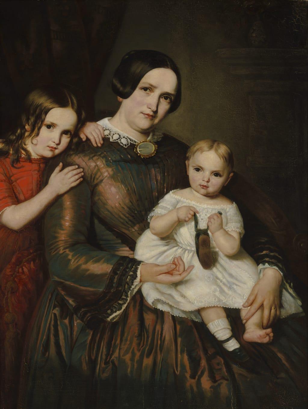 Madame Jean-Baptiste Renaud, née Sophie Lefebvre, et ses filles Wilhelmine et Emma