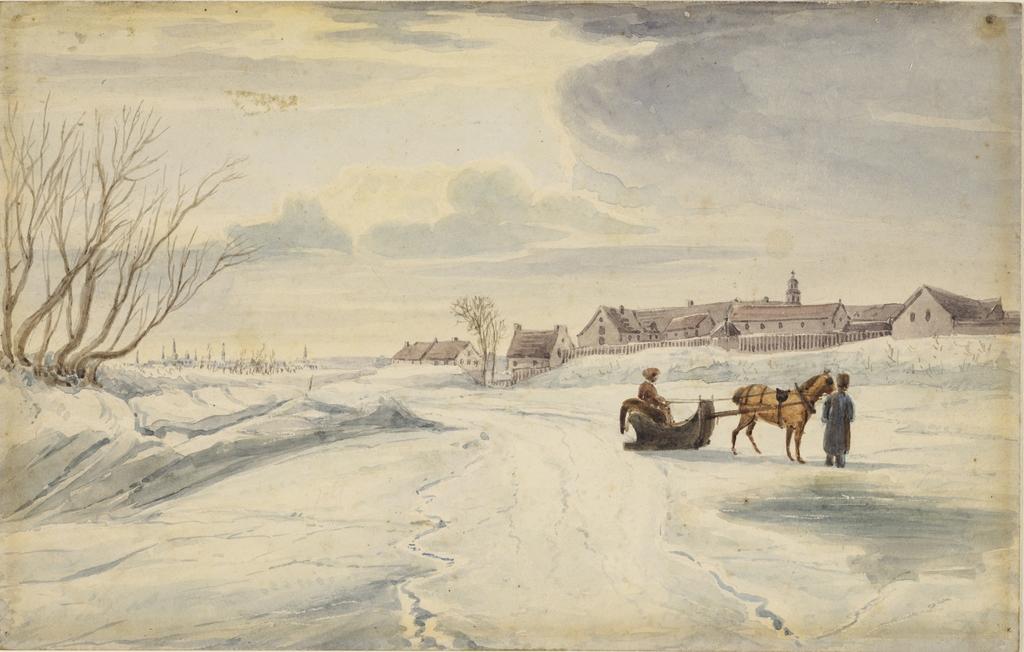L'Hôpital général de Québec vu de la rivière Saint-Charles gelée