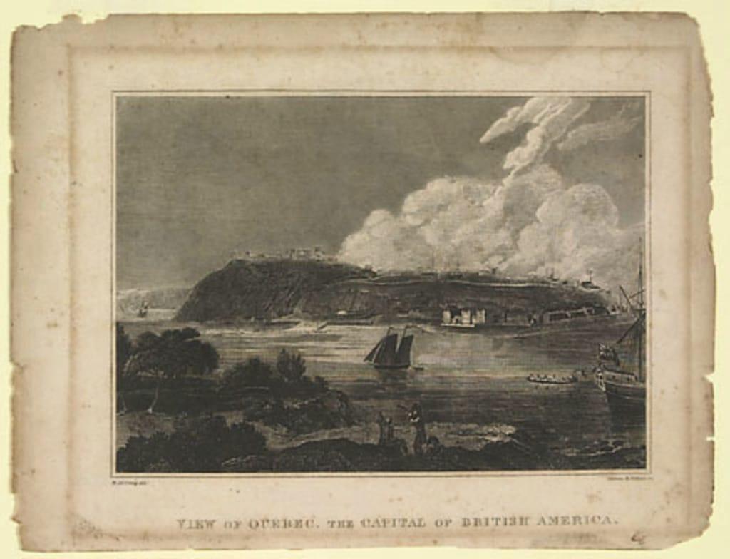 Vue de Québec, capitale de l'Amérique du Nord britannique, extrait de l'ouvrage A System of Universal Geography de Conrad Malte-Brun