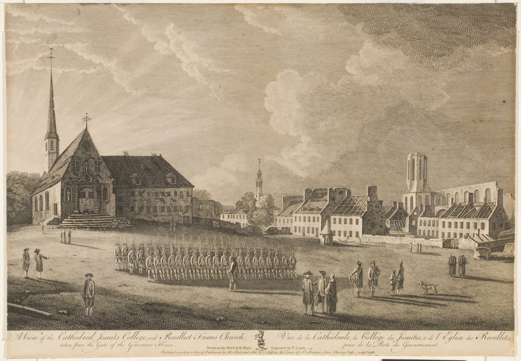 Vue de la cathédrale, du Collège des Jésuites et de l'église des Récollets, prise de la porte du Gouvernement