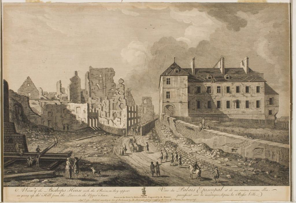 Vue du Palais épiscopal et de ses ruines, comme elles paraissent sur la montagne depuis la Basse-Ville