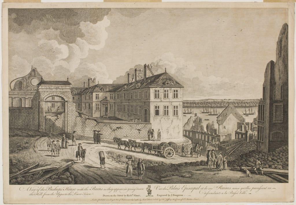 Vue du Palais épiscopal et de ses ruines, ainsi qu'elles paraissent en descendant à la Basse-Ville