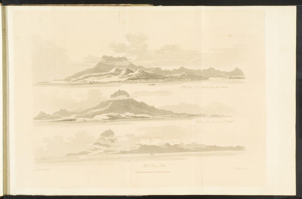 Vue sud-ouest de Sao Miguel, l'une des Açores. Extrémité est de l'île de Sao Miguel. Vue sud-ouest de Pico, du livre illustré Travels through the Canadas