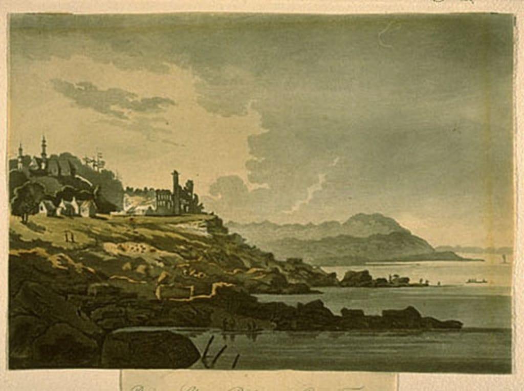 Les Ruines de Château-Richer avec le cap Tourmente, extrait du livre illustré Travels through the Canadas