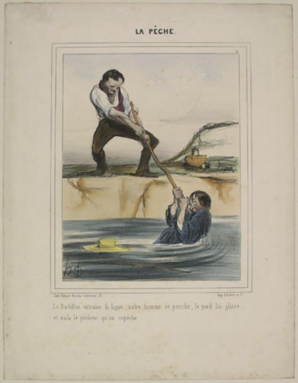 Le Barbillon entraîne la ligne, notre homme se penche, le pied lui glisse, et voilà le pêcheur qu'on repêche