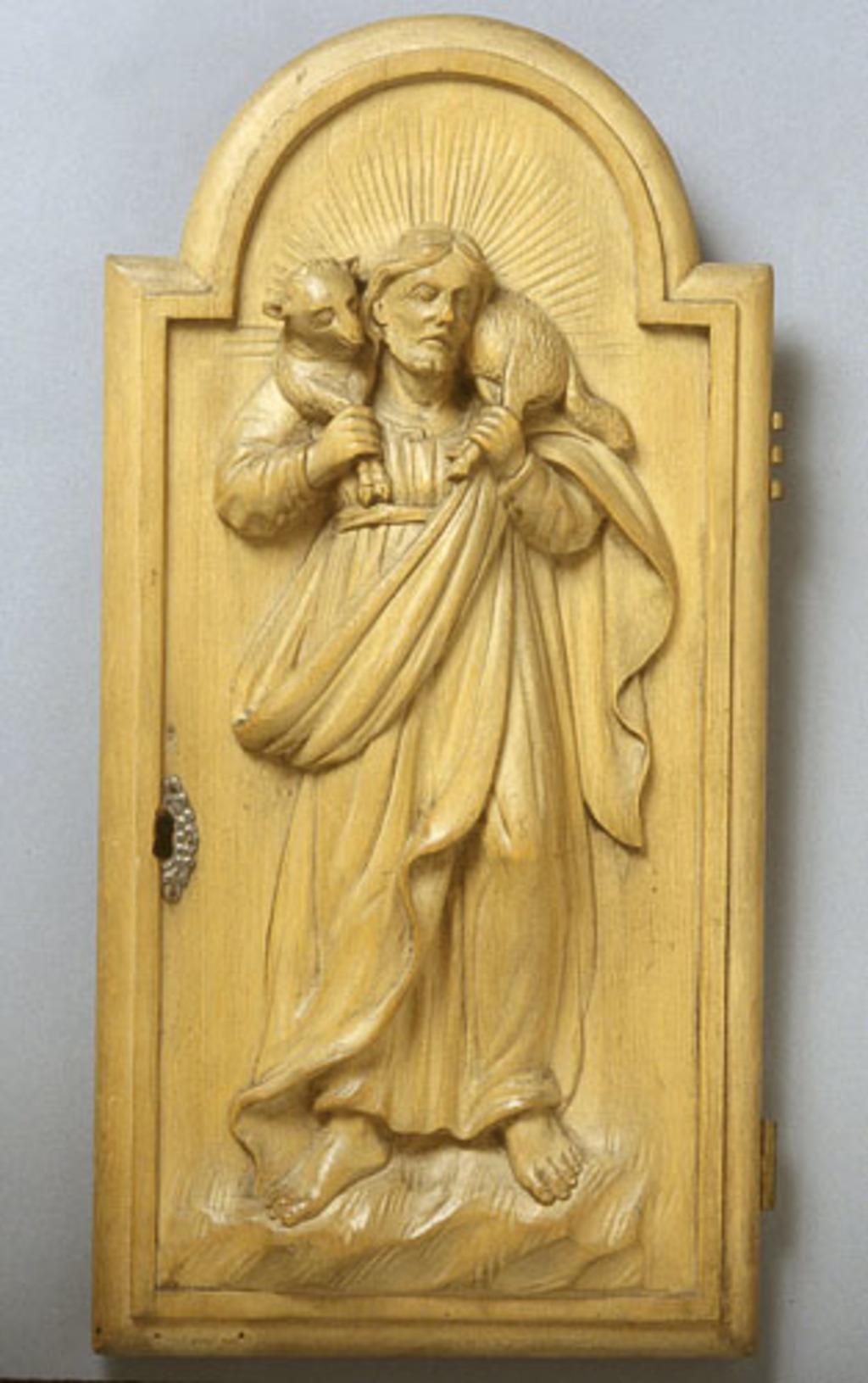 Porte de la réserve eucharistique du tabernacle de l'autel du Bon-Pasteur de Saint-Martin de Laval