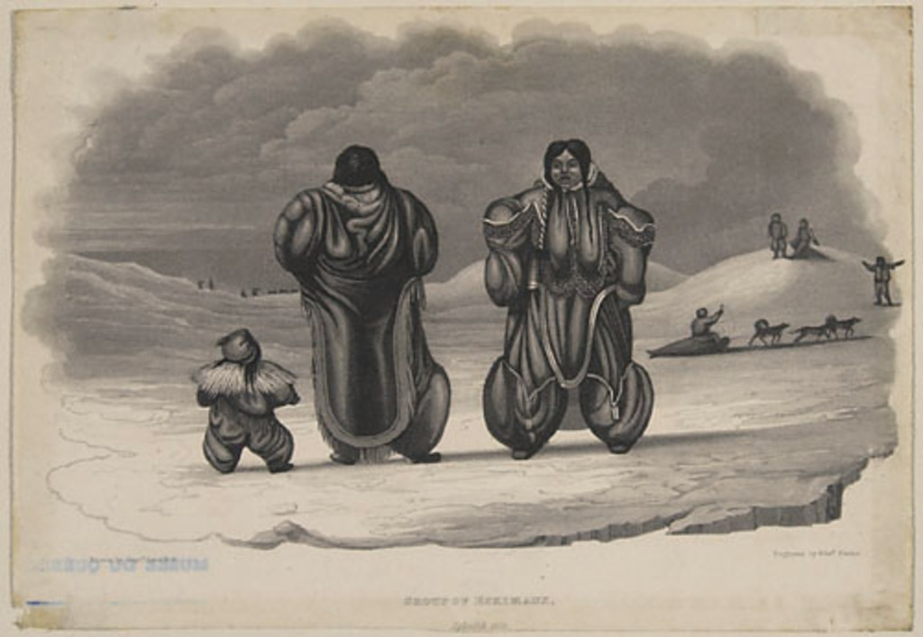 Groupe d'Esquimaux, Igloolik, 1823, extrait de l'ouvrage Journal of a Second Voyage for the Discovery of a North-West Passage from the Atlantic to the Pacific... de William Edward Parry