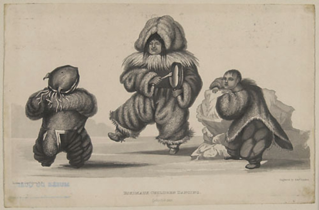 Enfants esquimaux dansant, Igloolik, 1823, extrait de l'ouvrage Journal of a Second Voyage for the Discovery of a North-West Passage from the Atlantic to the Pacific... de William Edward Parry